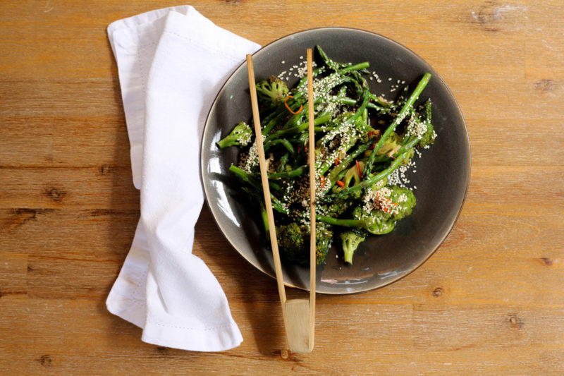 Charred broccoli and asparagus with ginger, sesame and soy